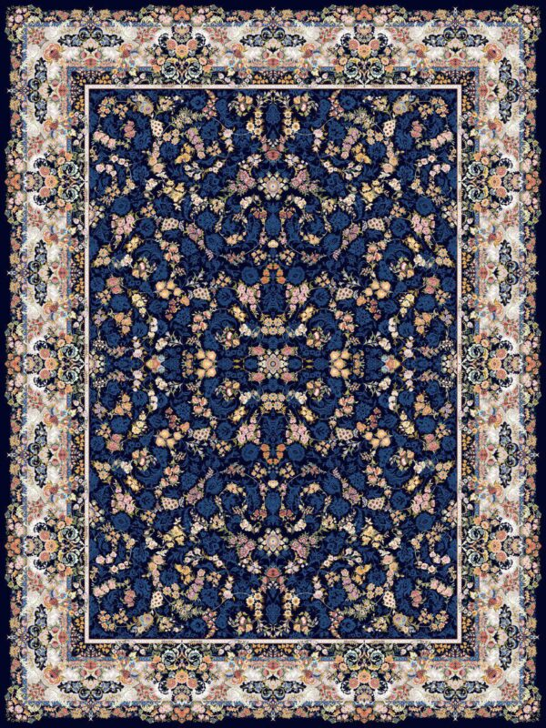 افشان بهشت سرمه ای/دنیای فرش/فرش ایرانی/فرش ماشینی/donyayfarsh