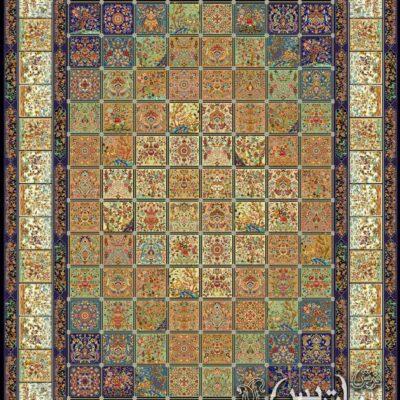 خشتی سرمه ای/دنیای فرش/فرش ایرانی/فرش ماشینی/donyayfarsh