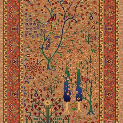 درخت زندگی شکلاتی 1/دنیای فرش/فرش ایرانی/فرش ماشینی/donyayfarsh