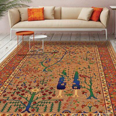 درخت زندگی شکلاتی/دنیای فرش/فرش ایرانی/فرش ماشینی/donyayfarsh