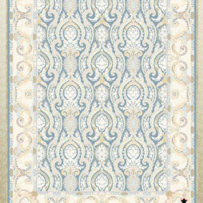 کد 12053 آبی حاشیه کرم/دنیای فرش/فرش ایرانی/فرش ماشینی/donyayfarsh