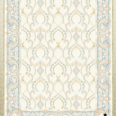 کد 12053 کرم حاشیه آبی/دنیای فرش/فرش ایرانی/فرش ماشینی/donyayfarsh