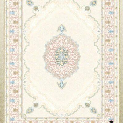 کد 12056 کرم حاشیه گلبهی/دنیای فرش/فرش ایرانی/فرش ماشینی/donyayfarsh