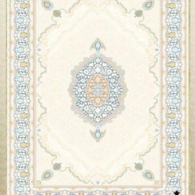 کد 12059 کرم حاشیه آبی/دنیای فرش/فرش ایرانی/فرش ماشینی/donyayfarsh